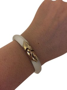 Alexis Bittar Gold Hinged Silver Lucite Bangle