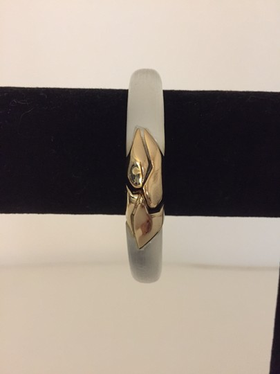 Alexis Bittar Gold Hinged Silver Lucite Bangle Image 1