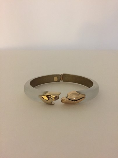Alexis Bittar Gold Hinged Silver Lucite Bangle Image 3