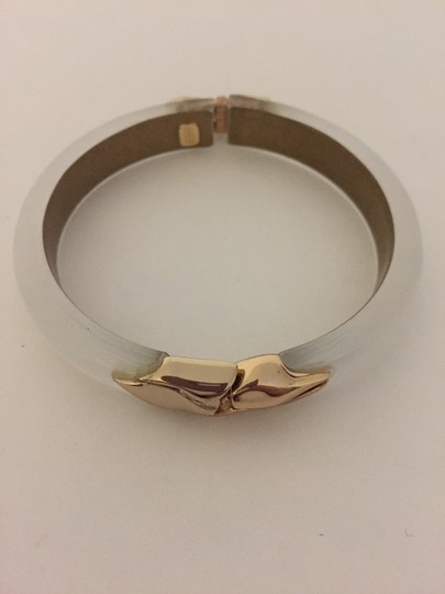 Alexis Bittar Gold Hinged Silver Lucite Bangle Image 4