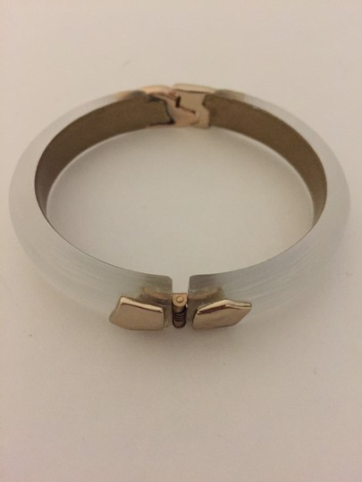 Alexis Bittar Gold Hinged Silver Lucite Bangle Image 5
