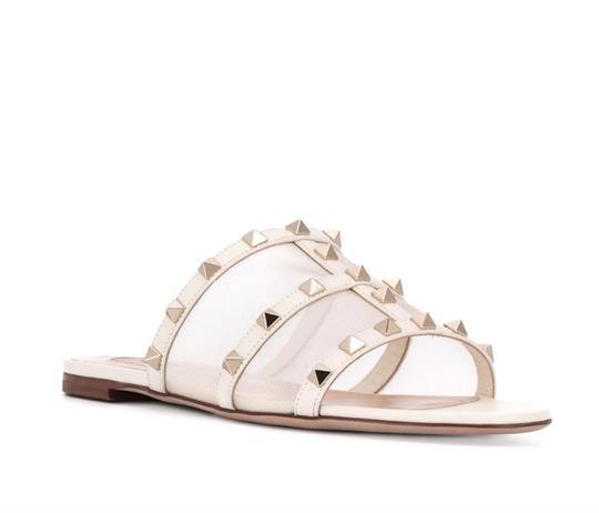Valentino Studded Leather Slip On Mesh Ivory Sandals Image 1