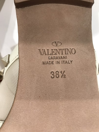 Valentino Studded Leather Slip On Mesh Ivory Sandals Image 11