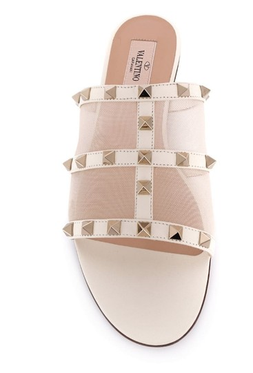 Valentino Studded Leather Slip On Mesh Ivory Sandals Image 2