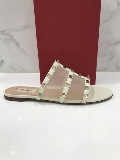 Valentino Studded Leather Slip On Mesh Ivory Sandals Image 3