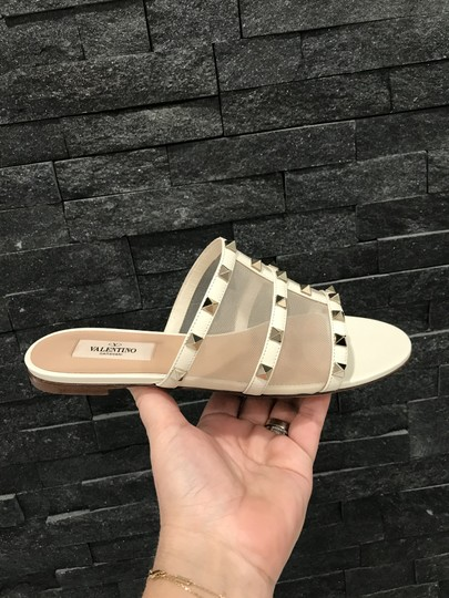 Valentino Studded Leather Slip On Mesh Ivory Sandals Image 4