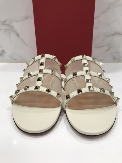 Valentino Studded Leather Slip On Mesh Ivory Sandals Image 5