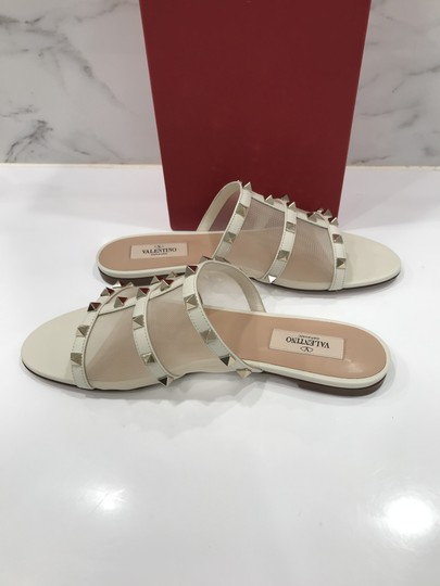 Valentino Studded Leather Slip On Mesh Ivory Sandals Image 6