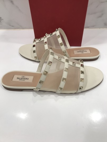 Valentino Studded Leather Slip On Mesh Ivory Sandals Image 7