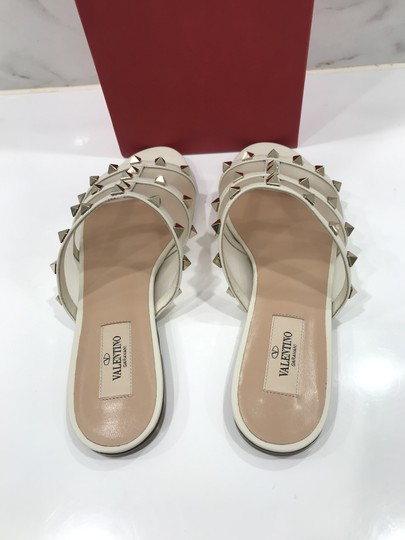 Valentino Studded Leather Slip On Mesh Ivory Sandals Image 8