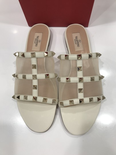 Valentino Studded Leather Slip On Mesh Ivory Sandals Image 9