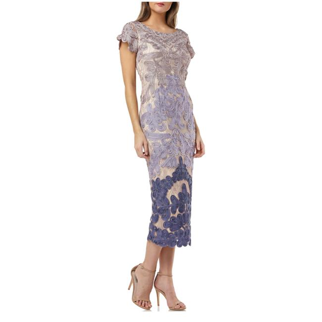 Item - Taupe / Plum Soutache Two Tone Embroidered Lace Mid-length Cocktail Dress Size 12 (L)