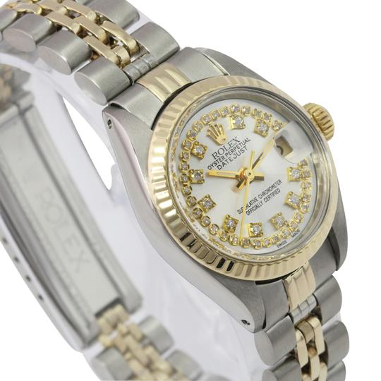 Rolex Rolex Lady Datejust Silver String Diamond Dial Fluted Bezel 26mm Watch Image 3