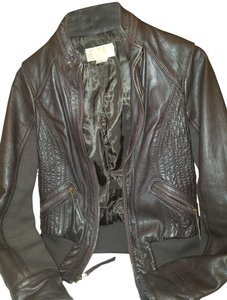 Michael Kors Bomber Coat Brown Leather Jacket