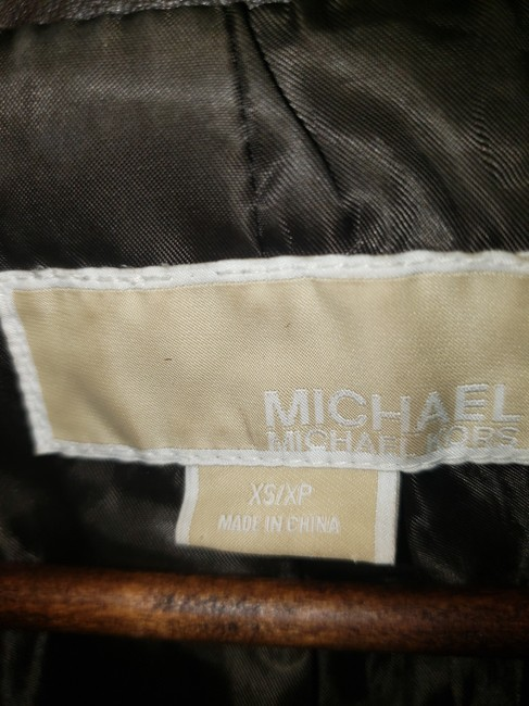 Michael Kors Bomber Coat Brown Leather Jacket Image 1
