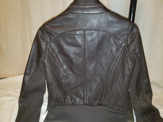 Michael Kors Bomber Coat Brown Leather Jacket Image 3