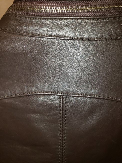 Michael Kors Bomber Coat Brown Leather Jacket Image 4