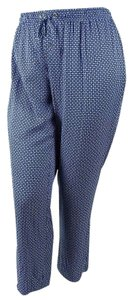 Charter Club Stretchy Elastic Print Rayon Straight Pants Blue