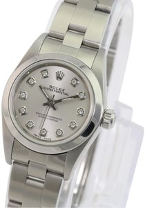 Rolex Rolex Oyster Perpetual Silver Diamond Dial Smooth Bezel 25mm Watch