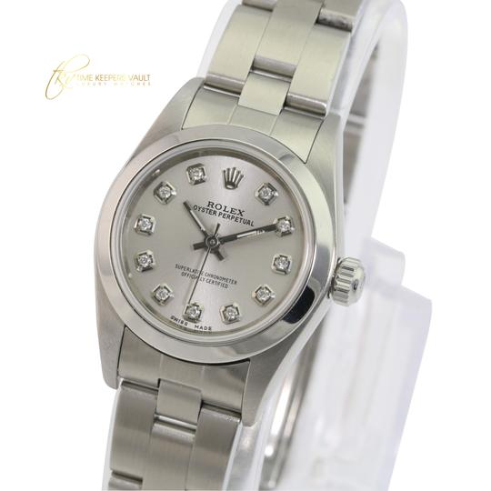 Rolex Rolex Oyster Perpetual Silver Diamond Dial Smooth Bezel 25mm Watch Image 1