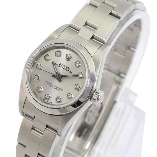 Rolex Rolex Oyster Perpetual Silver Diamond Dial Smooth Bezel 25mm Watch Image 2