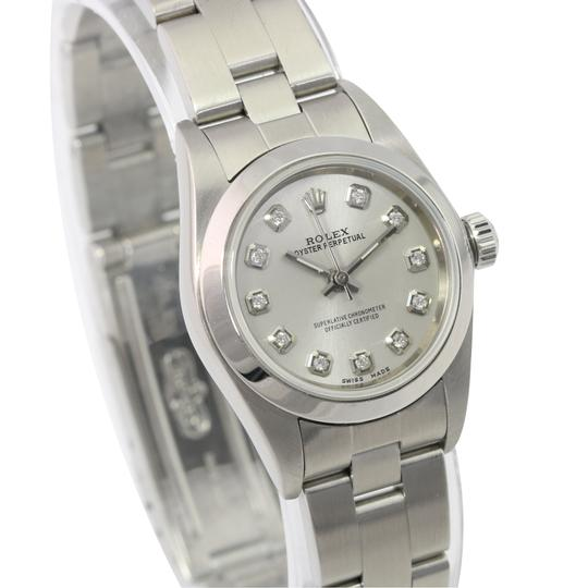 Rolex Rolex Oyster Perpetual Silver Diamond Dial Smooth Bezel 25mm Watch Image 3