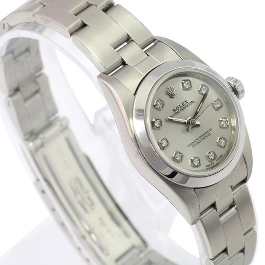 Rolex Rolex Oyster Perpetual Silver Diamond Dial Smooth Bezel 25mm Watch Image 4