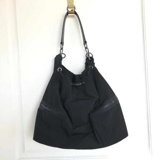 Henri Bendel Drawstring Travel Gym Nylon Durable Tote in Black Image 1