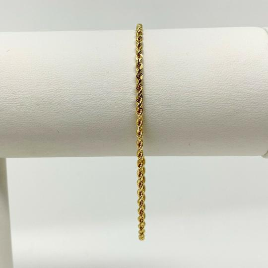 Other 14k Yellow Gold Hollow Thin 2mm Diamond Cut Rope Chain Bracelet 7