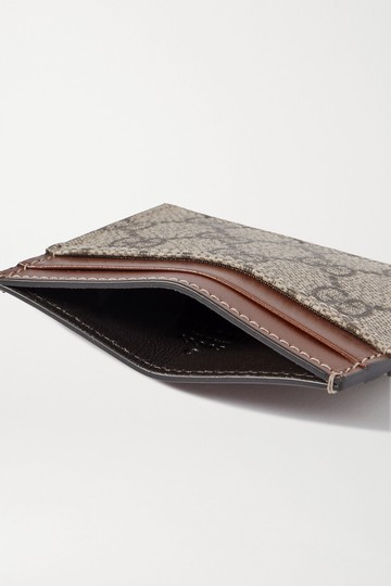 Gucci Linea leather-trimmed printed coated-canvas cardholder Image 1
