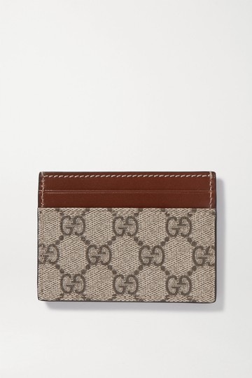 Gucci Linea leather-trimmed printed coated-canvas cardholder Image 2