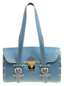 Louis Vuitton Leather Nylon Satchel in Blue - item med img