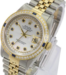 Rolex Rolex Mens Datejust White MOP Sapphire Dial Diamond Bezel 36mm Watch