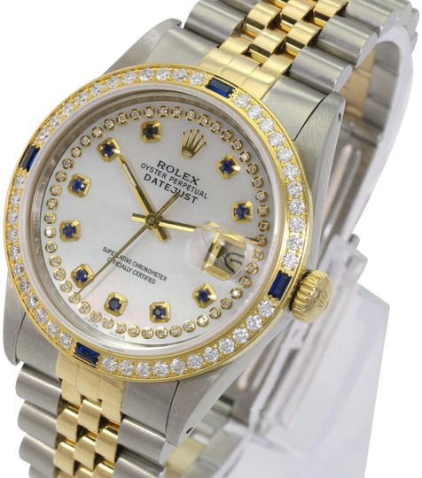 Preload https://img-static.tradesy.com/item/26530336/rolex-white-mop-mens-datejust-sapphire-dial-diamond-bezel-36mm-watch-0-1-540-540.jpg