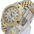 Rolex Rolex Mens Datejust White MOP Sapphire Dial Diamond Bezel 36mm Watch Image 2
