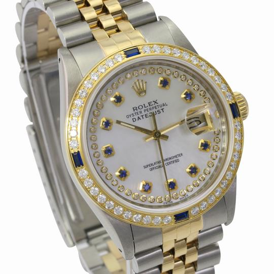 Rolex Rolex Mens Datejust White MOP Sapphire Dial Diamond Bezel 36mm Watch Image 3
