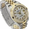 Rolex Rolex Mens Datejust White MOP Sapphire Dial Diamond Bezel 36mm Watch Image 4