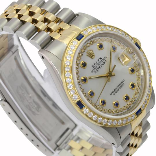 Rolex Rolex Mens Datejust White MOP Sapphire Dial Diamond Bezel 36mm Watch Image 5