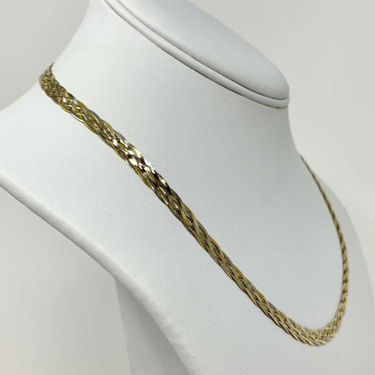 Other 14k White Gold Two Tone Braided Weave Herringbone Link Necklace 18