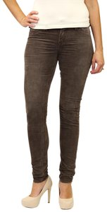 Silver Jeans Co. Monochrome Logo Metallic Hardware Skinny Pants Brown