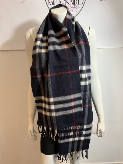 Burberry BURBERRY 1291219 $500 BLACK, WHITE, RED PLAID CASHMERE FRINGE SCARF Image 1
