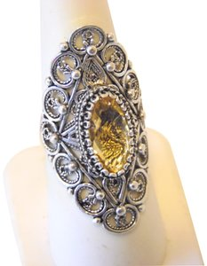 Other Ottoman Silver 2.5ct Citrine Elongated Ring Size 7