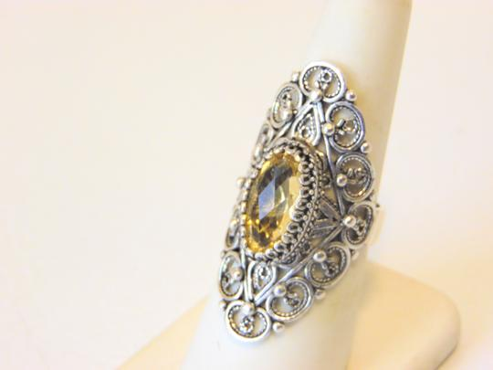 Other Ottoman Silver 2.5ct Citrine Elongated Ring Size 7 Image 4
