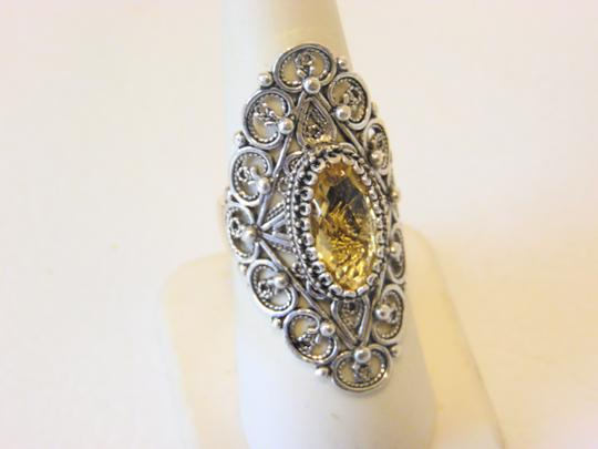 Other Ottoman Silver 2.5ct Citrine Elongated Ring Size 7 Image 6