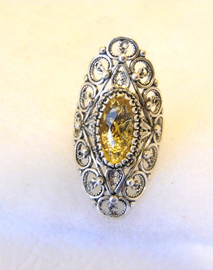 Other Ottoman Silver 2.5ct Citrine Elongated Ring Size 7 Image 8