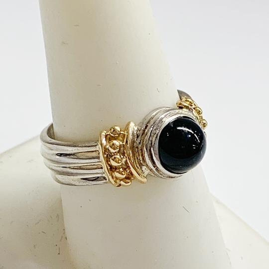 Other GORGEOUS!! Sterling Silver and 14 Karat Yellow Gold Black Onyx Ring Image 3