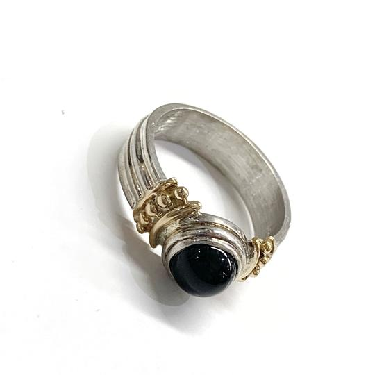 Other GORGEOUS!! Sterling Silver and 14 Karat Yellow Gold Black Onyx Ring Image 6