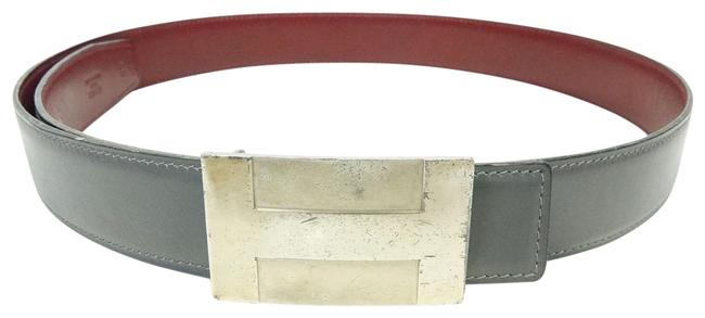 Item - Maroon and Gray Constance Box Unisex Calf Leather X Reversible 32 Mm 95 Buckle C Belt