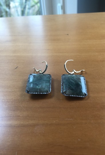 Fine Jewelry 14k diamond and sapphire leverback earrings Image 2