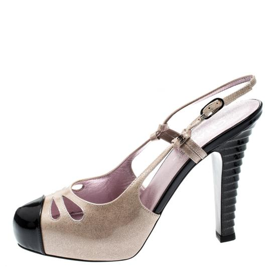 Chanel Patent Leather Textured Beige Sandals Image 1